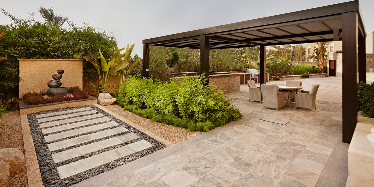 Decide what features you want to showcase in your landscape design. Water features, fire features, feature walls, and living walls all work wonders to enhance your backyard.