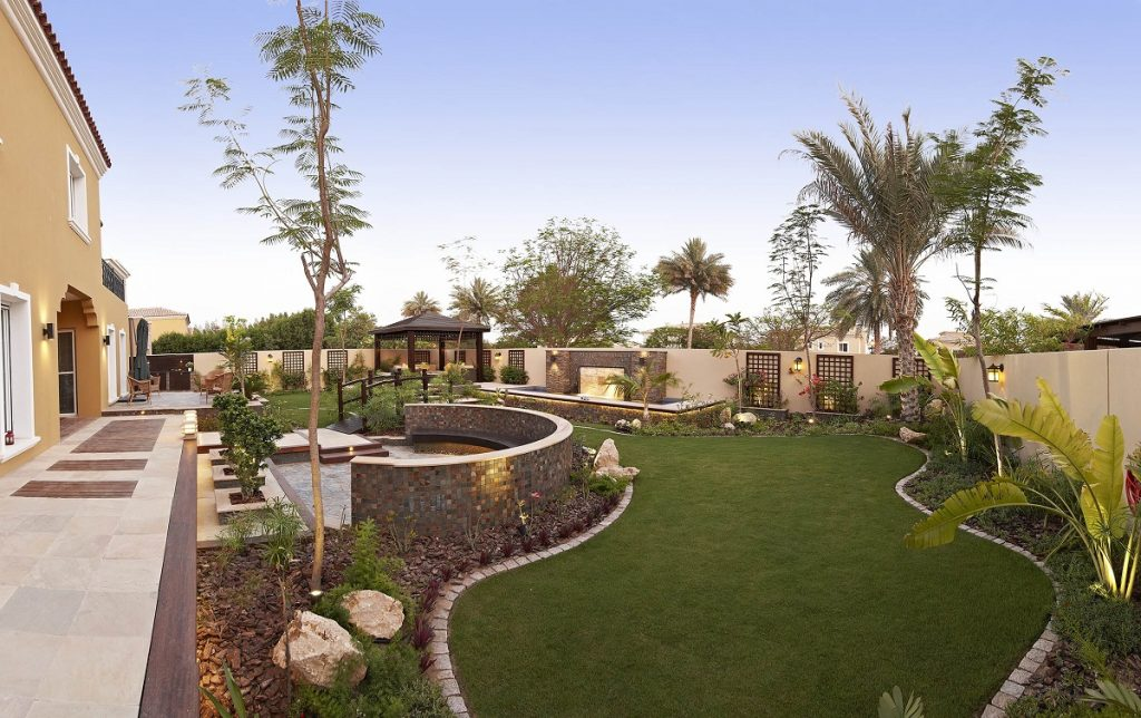 Green grass, palm trees, seating area - landscape design planning